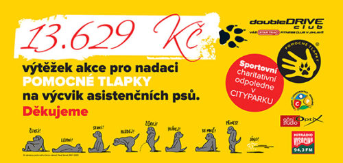 13.129 Kč - takový je výtěžek akce pro nadaci POMOCNÉ TLAPKY na výcvik asistenčních psů. Děkujeme.